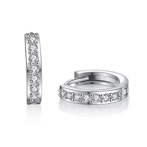 Culer White Crystal Ohrringe Für Frauen-Silberne Farbe KubikZircon Hoop Earing Hochzeit Kreis KubikZircon Verpflichtungs-Schmucksachen