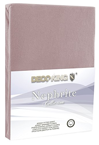 DecoKing 19214 80×200-90×200 cm Spannbettlaken Cappuccino 100% Baumwolle Jersey Boxspringbett Spannbetttuch Bettlaken Betttuch beige Nephrite Collection - 2