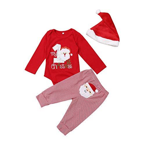 Geagodelia Pagliaccetto Neonato per Natale in Cotone Tutine Unisex 0-12 Mesi Babbo Natale 3 PC Top a Maniche Lunghe+Pantaloni+Cappello di Natale Completto Bimbo (Rosso, 0-3 Mesi)