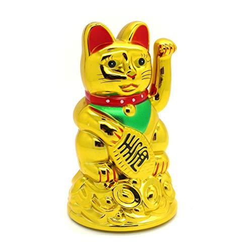 Gato de la suerte Starlet24, gato que saluda, gato Feng Shui, Maneki Neko, plástico, dorado, 11 cm