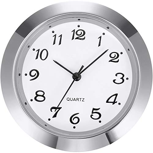 Mudder 1-7/16 Inch (36 mm) Clock Insert Fit Diameter 1-3/8 Inch (35 mm) Hole, Arabic Numerals (Silver Bezel)