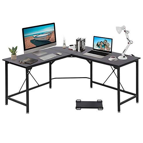 GRANDMA SHARK Eckschreibtisch, L-förmiger Schreibtisch, Gaming Schreibtisch, Gaming Tisch, Computertisch, Bürotisch Computer Workstation (Schwarz, 140 × 140 × 75 cm)