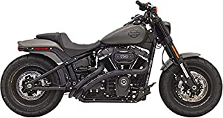 Bassani Manufacturing 1S22FB Radial Sweeper 2-Into-2 Exhaust System - Black with Black Slotted Heat Shields