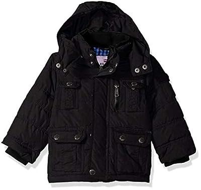 Ben Sherman Boys' Little Bubble Jacket with Hood, Black, 7