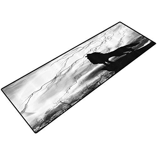 Black Wolf Silhouette Doormat Indoor Howling Thunderstorm Full Moon Light Mystic Night Gray White and Black Monochrome Scary Scene Art Comfort Mat for Kitchen Floor Standing Desk Rugs