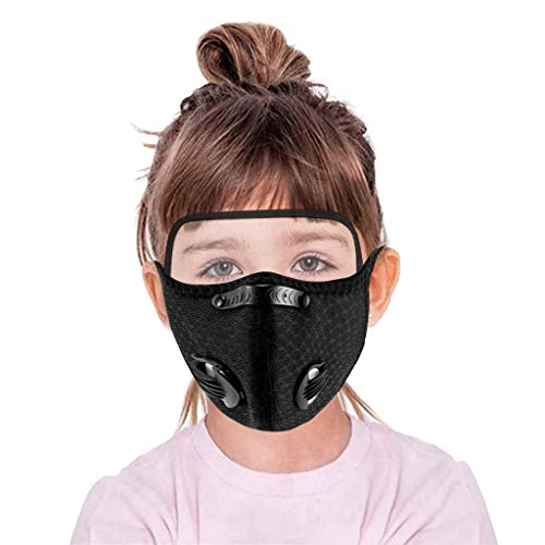 PM2.5 Dust Proof Breathable Mouth Bandanas for Kids Unisex Protection with Eyes Shield for Outdoor School