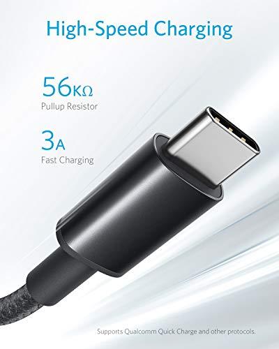 Anker USB C Kabel Typ C Kabel [2 Stück] 1,8 m Nylon Type C Ladekabel für Samsung Galaxy S10 S9 S8 Plus,Note 9 8,LG G5 G6 V20,HTC 10 U11, Huawei Honor, P20 Lite P10 P9, Mate9 10 usw (Schwarz)