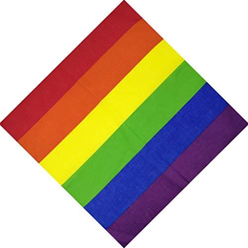 luosh Square Schal, Festival Regenbogen Bunte Sieben Streifen Stirnband Bandana Homosexuell Parade Armband Halstuch Kopfschmuck Kopftücher