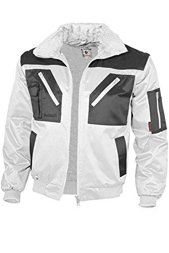 Qualitex Piloten-Jacke 4 in 1 - Kragenfutter und Ärmel abtrennbar - weiß/grau - Größe: L