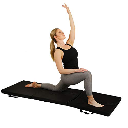 Sunny Health & Fitness Folding Gymnastics Tumbling Mat - Extra Thick with Carry Handles - for Exercise, Yoga, Fitness, Aerobics, Martial Arts, Cardio