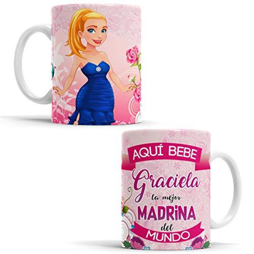 OyC Original y Creativo Taza Madrina - Taza Aquí Bebe la Mejor Madrina del Mundo/Taza aqui Bebe una Super Madrina/Taza con Frase y Dibujo Personalizada con Nombre (Madrina)