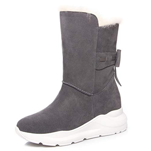 JOYGOOD Snow Boots, Women's Wool Winter Boots, Thick-Soled Cotton Boots with Velvet Warmth, Cold-Resistant Frosted Leather Martin Boots (Color : Gray, Size : US-5)