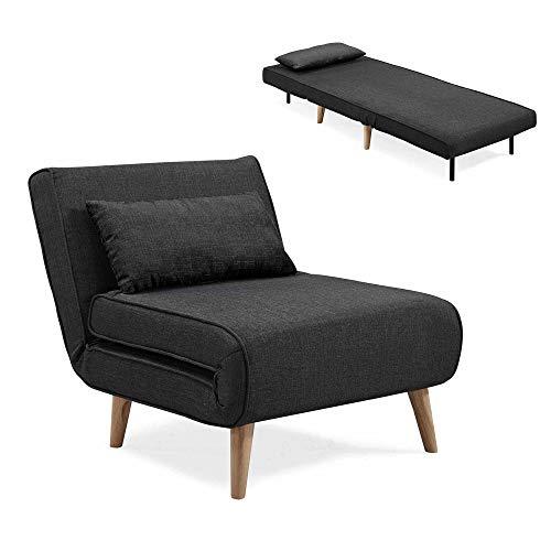 Mobilier Deco Fauteuil scandinave Convertible en Tissu Noir