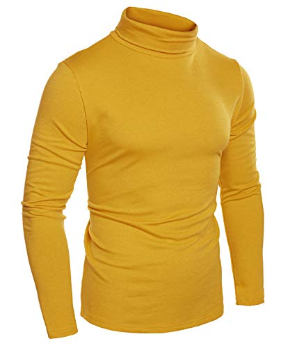 COOFANDY Men's Slim Fit Basic Thermal Turtleneck Shirts Casual Cotton Knitted Pullover Sweaters Yellow