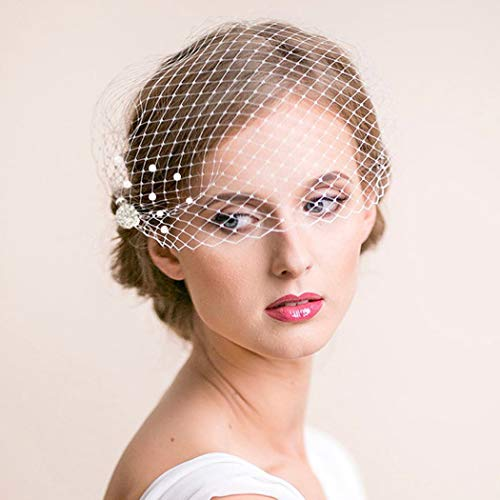 Mayelia Bride Wedding Birdcage Veil White Pearl Bridal Bandeau Veil Crystal Blusher Veil for Women and Girls
