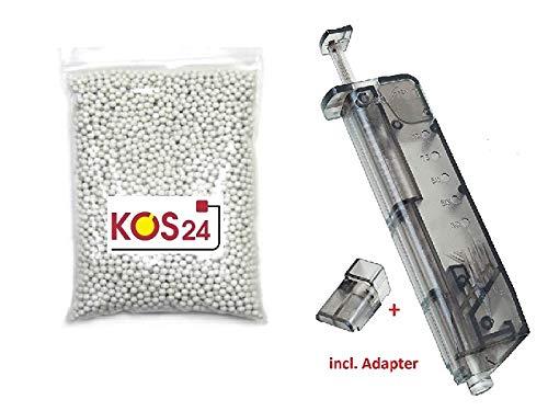 KOSxBO® 4000 Softair BBS 0.25g Premium BB Kugeln 6mm Airsoft inklusive Speedloader
