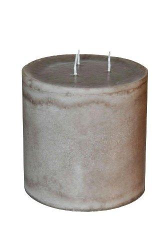 Klocke Kerzen Runde Dreidochtkerze/Mehrdochtkerze - Stein Grau - Höhe 15cm / Ø 15cm - Lange Brenndauer (100 Stunden) - Hochwertige Stumpenkerze mit Mehreren Dochten