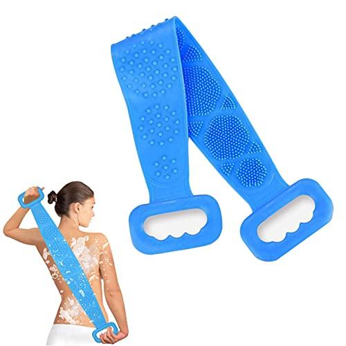 Depurador de Silicona para baño, Limpieza de Espalda Masaje Exfoliante Toalla de baño Cepillo de Esponja de melón Dispositivo de fregado,Cepillo Corporal cómodo (Azul)