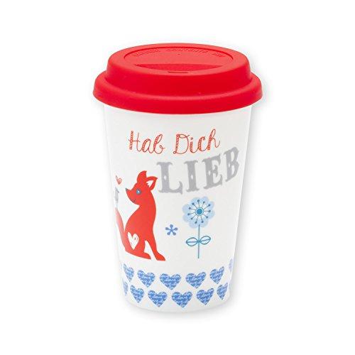 Die Geschenkewelt 43564 Becher mit Fuchs und Spruch Hab Dich lieb, Porzellan, 45 cl,mit Silikon-Deckel, rot, blau, weiß