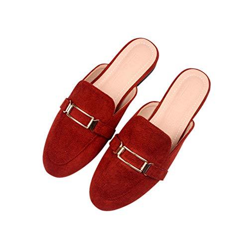 N/A Sandalias de Playa, Sandalias y Pantuflas de otoño, Pantuflas de Moda para Damas en tamaño Baotou-Crimson_32