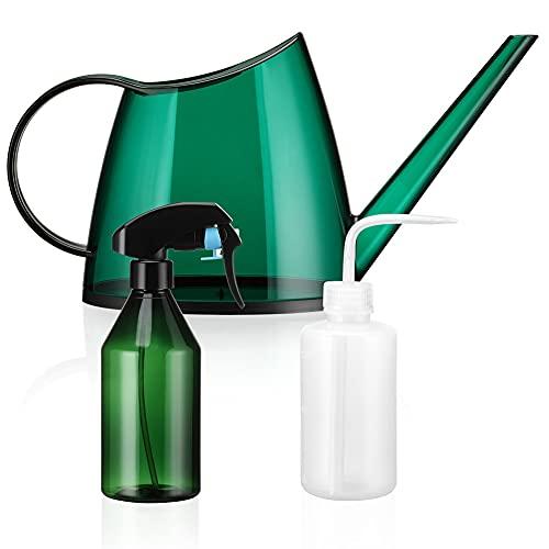 SUNYOSHINE 1,4 Liter Gießkanne für Zimmerpflanzen, kleine Gießkanne mit 10 Unzen Sprühflaschen und 250 ml Squeeze Flasche für Garten Zimmerpflanzen, Blumen, Sukkulenten (grün)