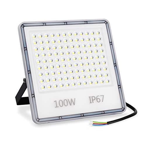 LED Strahler Außen 100W, 10000LM Superhell LED Fluter, IP67 Wasserdicht Außenstrahler Flutlicht, 6500K Kaltweiß LED Scheiwerfer für Hinterhof, Auffahrt, Türen, Garage, Flur, Garten