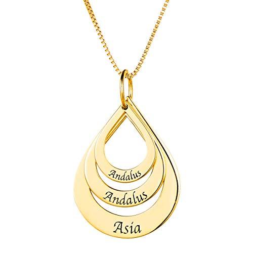HooAMI 925 Silber Personalisierte Halskette Namenskette Mit 3 Namen Familienkette Tropfenform Anhaenger Mit Gravur Gold