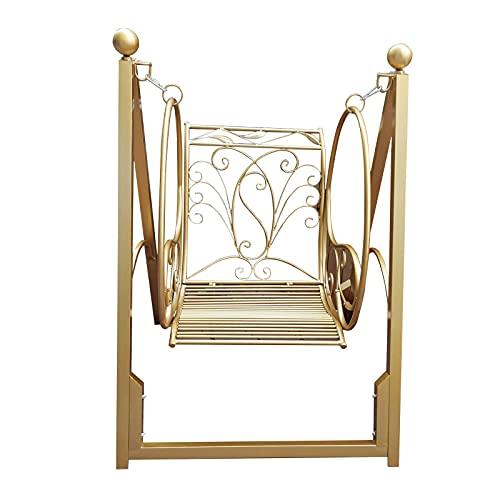 CHNG Silla de Columpio para terraza, Banco de jardín, Hamaca de un Solo Columpio de Metal Resistente a la Intemperie al Aire Libre, sillones de Patio con balcón, Silla de Respaldo Giratorio para
