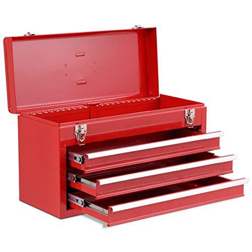 COSTWAY Werkzeugaufbewahrung Werkzeugkiste Werkzeugkasten Werkzeugbox, Schubladenschrank 3 Schubladen + Fach, Werkzeugkoffer 52x21,5x30cm (Rot)