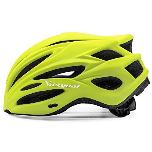 VICTGOAL Casco Bici Casco per Mountain Bike MTB Regolabile con Occhiali Magnetici Rimovibili e Visiera Shield per Adulti Uomo Donne Bicicletta Ciclismo (Giallo)