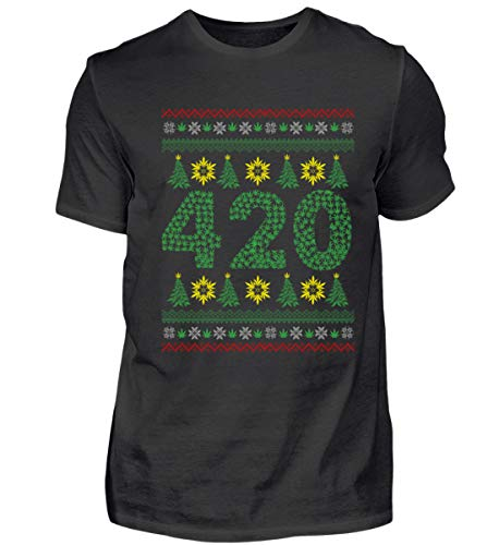 EBENBLATT Weihnachten 2018 Weihnachtsbaum 420 Hanf Baum Marihuana Gras Cannabis Blatt Geschenk - Herren Premiumshirt