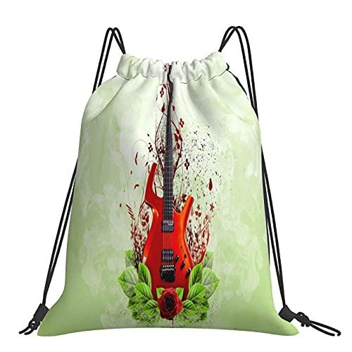 FJJLOVE Mochila con cordón Rojo Guitarra Ligera Mochila Gimnasio Mochila para Senderismo Gimnasio Natación Viajes