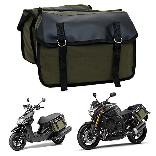 ulofpc Motorrad-Satteltasche Leder- und Segeltuchnähte Mountainbike-Umhängetasche Fahrradtasche Motorrad-Fahrradausrüstung Motorrad-Hecktasche (Militärgrün)