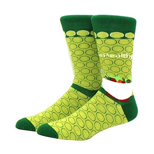 Calcetines para Hombres patrón Hip Hop Hombres Invierno Engrosamiento Largo monopatín Divertidos Calcetines Coloridos 2 Pares-a32