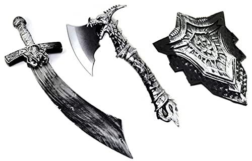 VENTURA TRADING Espada Medieval, Escudo y Conjunto de Hacha Caballero Accesorio Espada de Juguete Guerrero de Juguete Espada de niño Dragones Guerrero Caballero