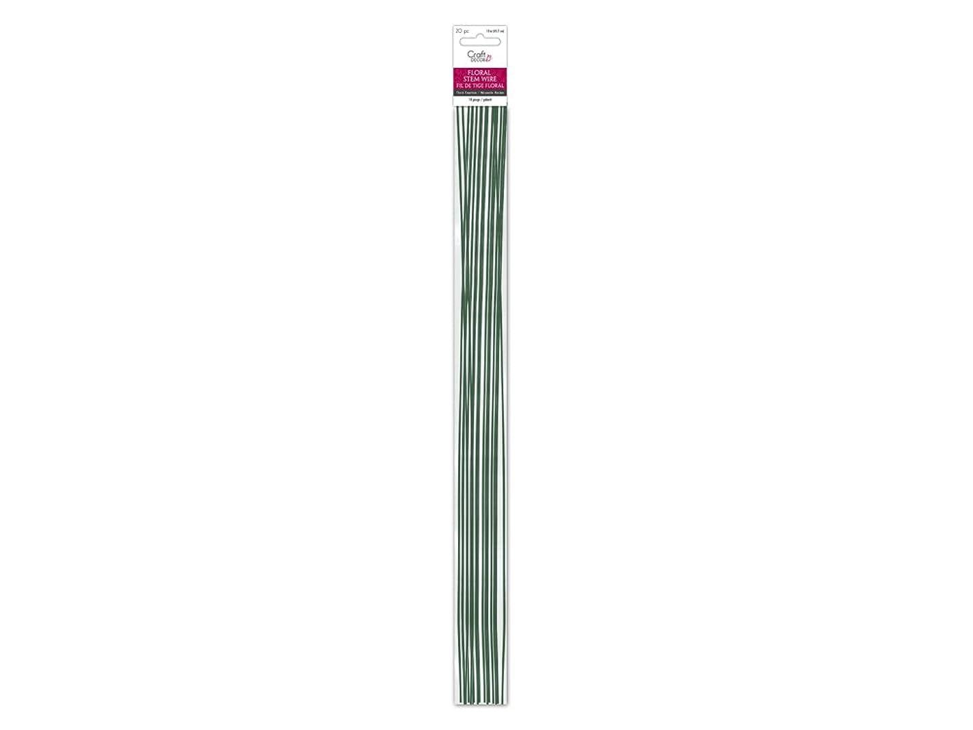 Craft Décor FL019 Floral Stem Wire 18g Green 18in, 20/pk