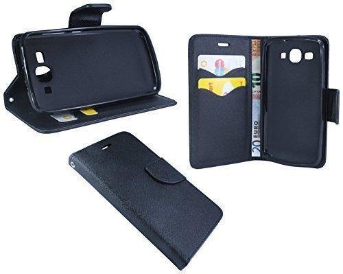 ENERGMiX Buchtasche kompatibel mit Huawei Ascend Y540 Hülle Hülle Tasche Wallet BookStyle mit Standfunktion Schwarz