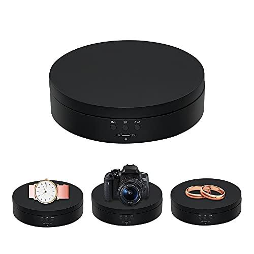 Mcbazel - Espositore girevole a 360°, girevole elettrico da 4,6', girevole a basso rumore per gioielli, prodotti per fotografia, orologi, tazze, ecc. - nero