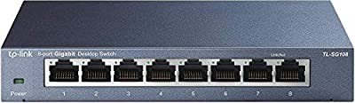TP-Link 8 Port Gigabit Ethernet Network Switch | Ethernet Splitter | Plug and Play | Fanless | Sturdy Metal w/ Shielded Ports | Traffic Optimization | Unmanaged | Lifetime Protection (TL-SG108)