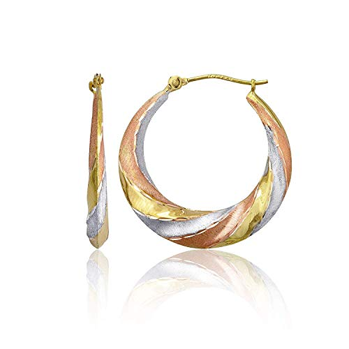 14K Tricolor Gold 3mm Thick High Polished Swirl Hoop Earrings with Hinged Clasp | 3x25mm Hoop | Swirl Earrings | Solid Gold Earrings For Women and Girls