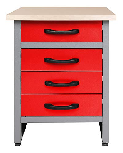 Ondis24 Werkbank rot Werktisch TÜV geprüft mit 4 Schubladen 60 x 60 cm Arbeitshöhe 85 cm