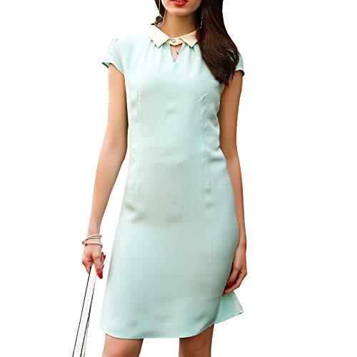 DISSA D9978 Damen Reine Farbe Seidenkleid Revers Kurzarm Seiden Midi Kleid,Blau-1,3XL