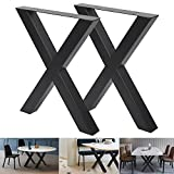 """Set of 2 Industrial Country Style Steel Table Legs 28""""x24"""" Dining Table Legs 28""""Height 24""""Wide Office Table Legs Computer Desk Legs Steel Heavy Duty Bench Legs Table Legs DIY Iron Bench Legs"""
