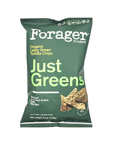 Forager New Gluten Free Corn Free Organic Tortilla Chips 5oz (Just Green, 6 Pack)