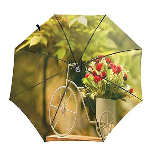 Lindo bicicleta y flor viaje paraguas plegable portátil compacto ligero diseño automático y alta resistencia al viento