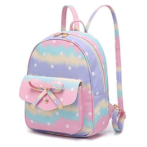 Girls Mini Backpack Cute Fashion Bowknot Leather Backpack Purse for Teens Women School Travel (Tie Dye Rainbow)