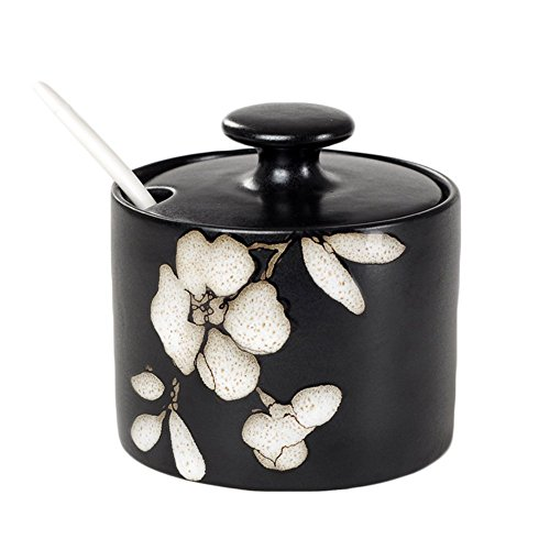 DoDola Japanese Style Ceramic Floral Sugar Bowl with Lid and Spoon 10 Ounces (Hibiscus)