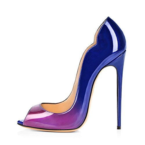 elashe - Damenschuhe - Peep-Toe Pump High Heel Damenschuhe im Lack-Look 12cm Absatz Rot Schwarz EU41