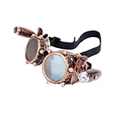 ZAIQUN Retro Goggles Vintage Steampunk Glasses Rave Crystal Lenses for Cosplay Halloween #1