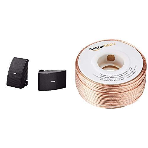 Yamaha NSAW392 120w All Weather Speakers - Black & AmazonBasics 16-Gauge Speaker Wire 1.3 mm² - 30.48 m (100 feet)